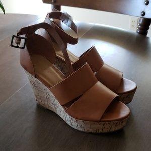Brand new tan wedge sandels